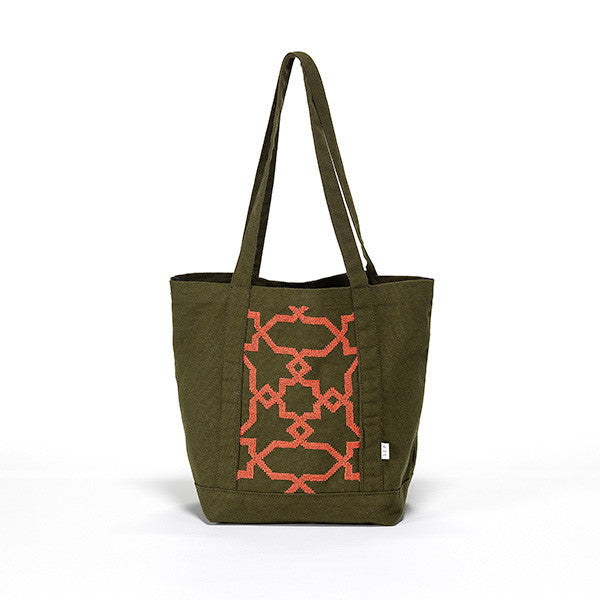 canvas tote bag embroidered by hand in jordan