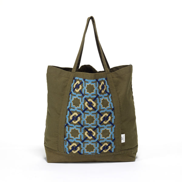 canvas tote bag embroidery craftsmanship by refugees