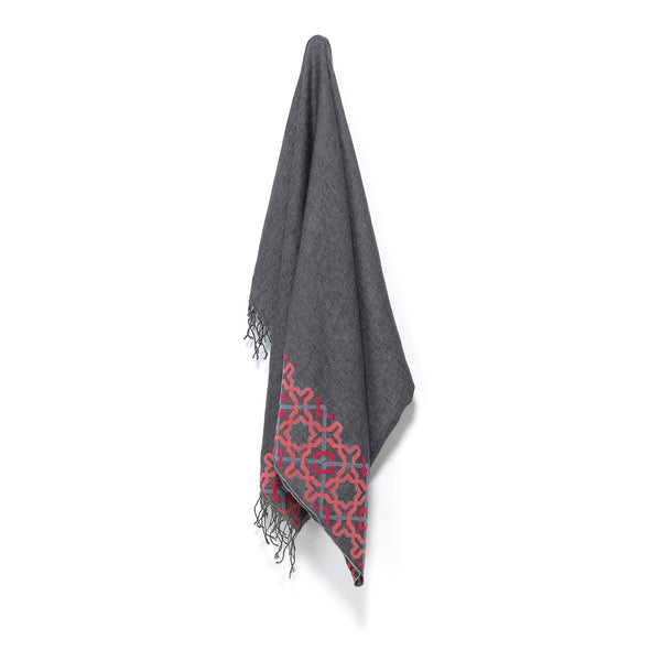 linen shawl made in italy embroidered in jordan by hand by refugees in jordan