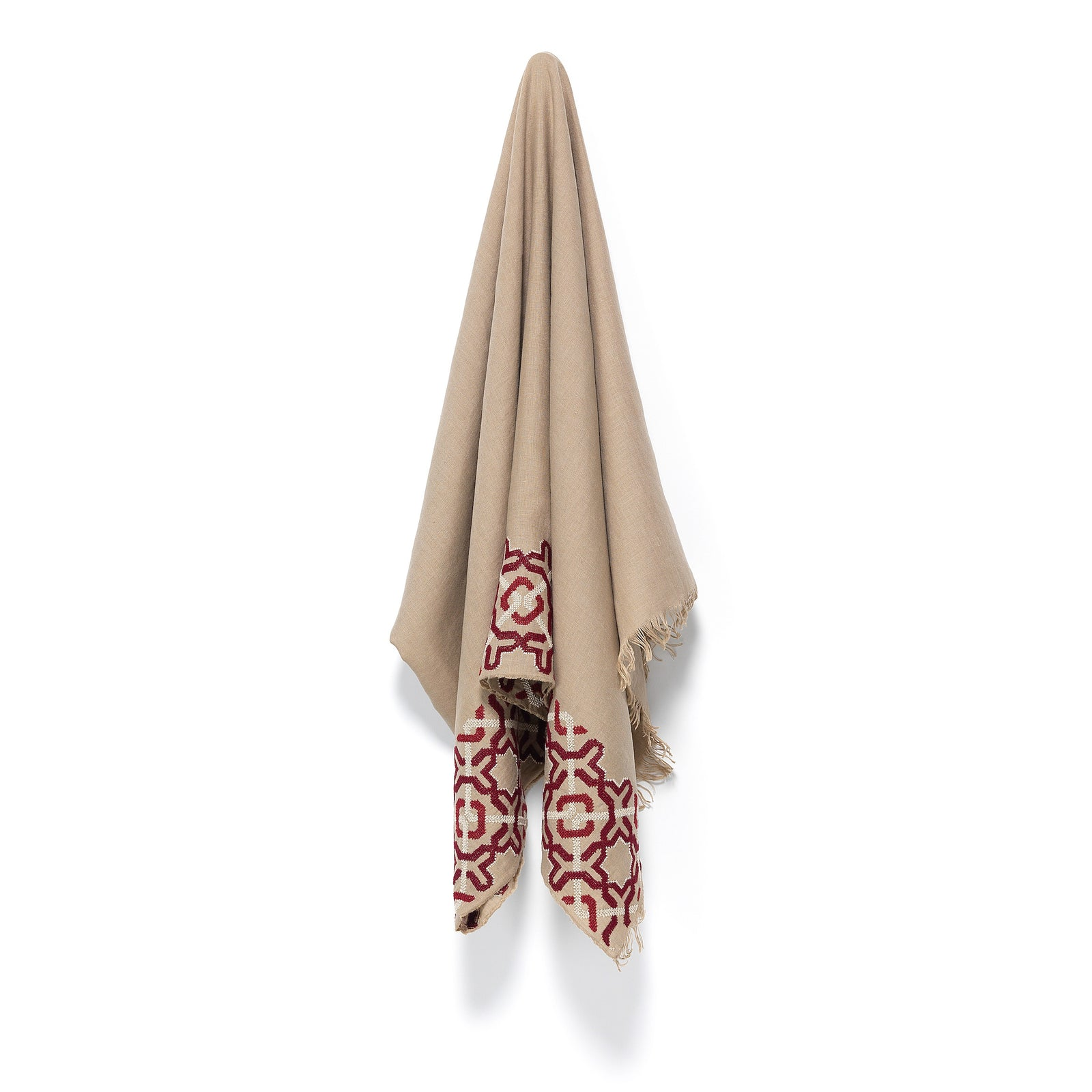 Taupe Linen Shawl, Alhambra® long edge