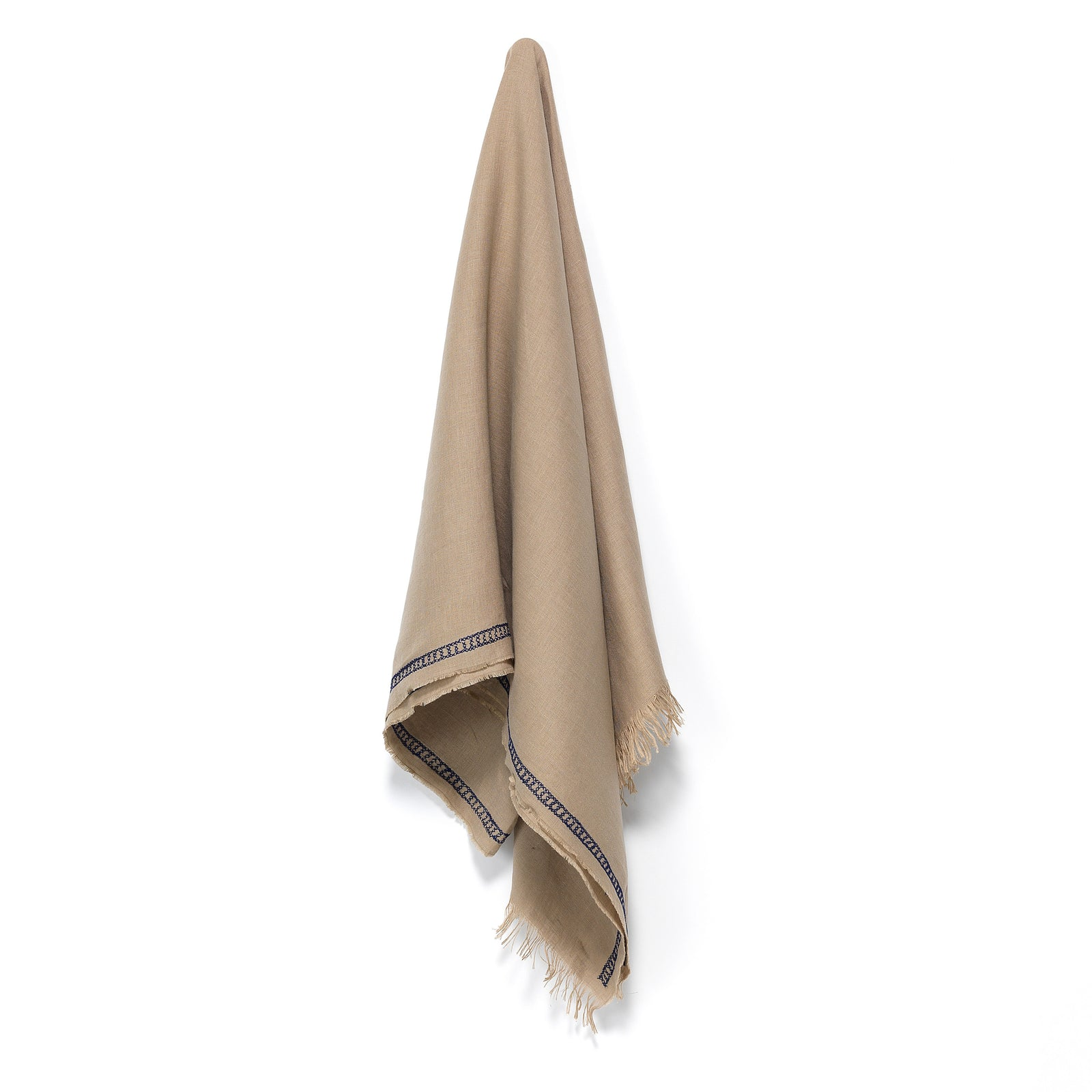 Taupe linen Shawl, unisex, chain