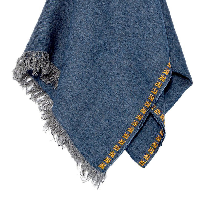 Blue Linen Shawl, Embroidered Rose, Unisex