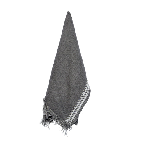 Grey Linen Shawl, Chain Pattern, Unisex