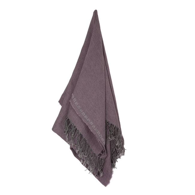 Mauve Linen Shawl, Embroidered Rose, Unisex