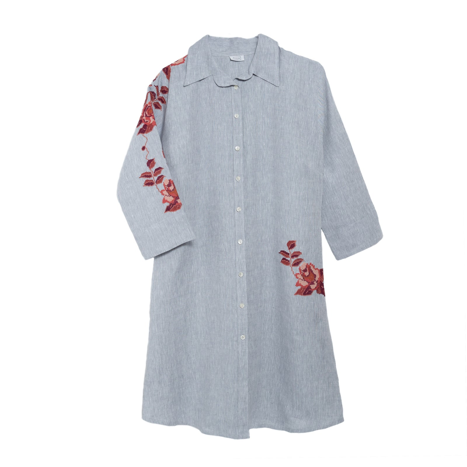 GRAY LINEN SHIRT DRESS BURNT ORANGE HANA ROSE