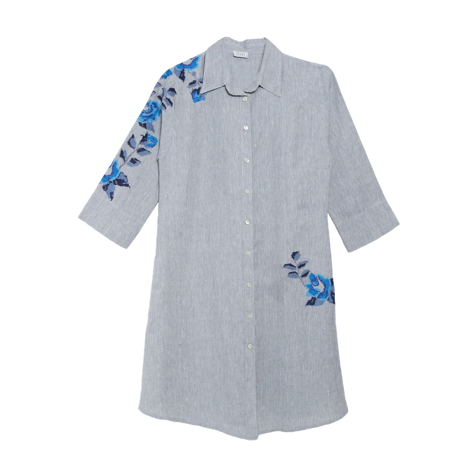 GRAY LINEN SHIRT DRESS SEA BLUE HANA ROSE