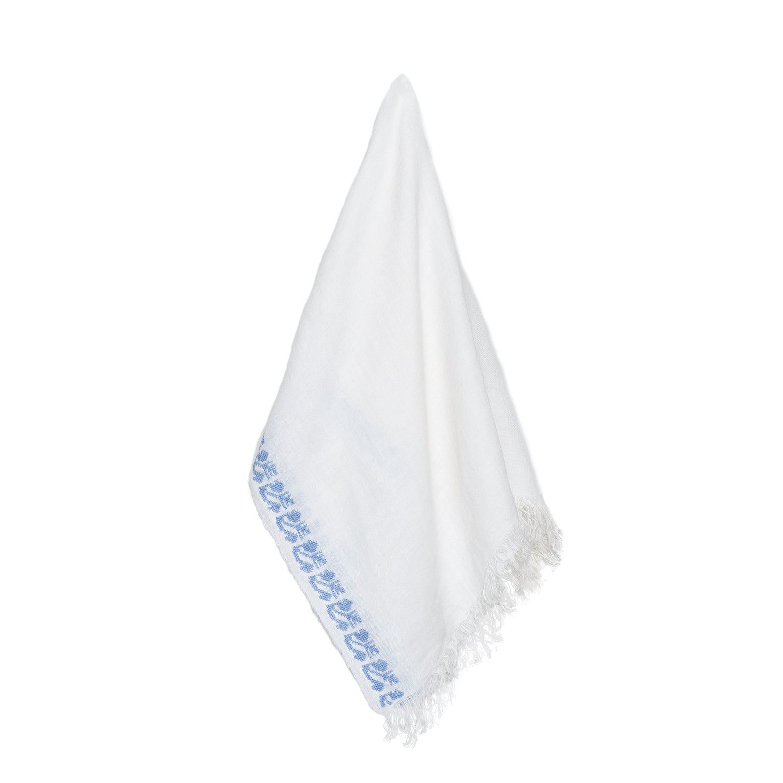WHITE LINEN SHAWL BLUE SINEAD