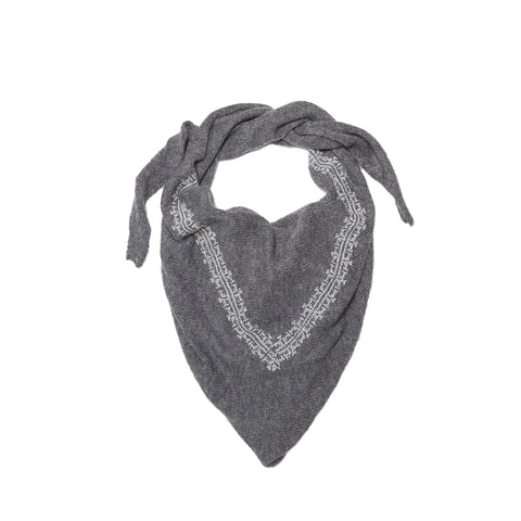 GRAY LINEN SHAWL BURGUNDY CHAIN UNISEX