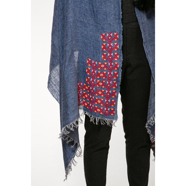Blue Linen Shawl - MADE51 X UNHCR Limited Edition