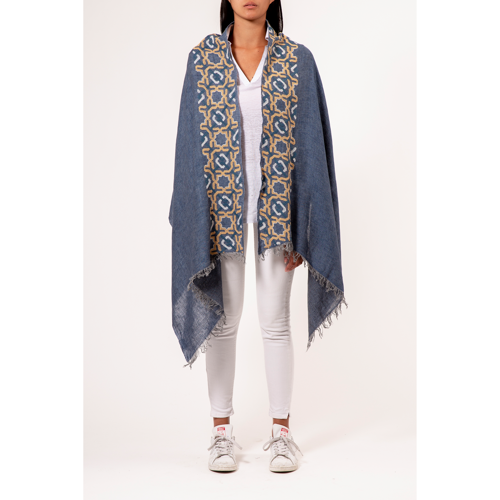 BLUE LINEN SHAWL AUTUMN YELLOW ALHAMBRA®