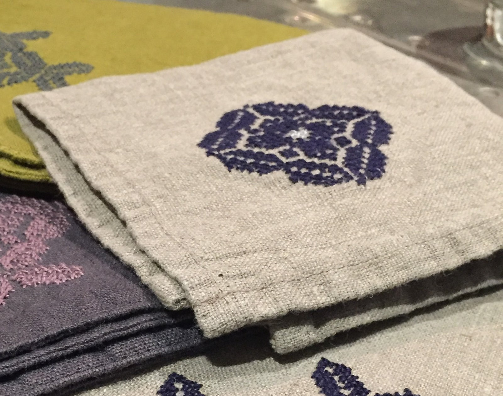 linen hand towel embroidery social enterprise