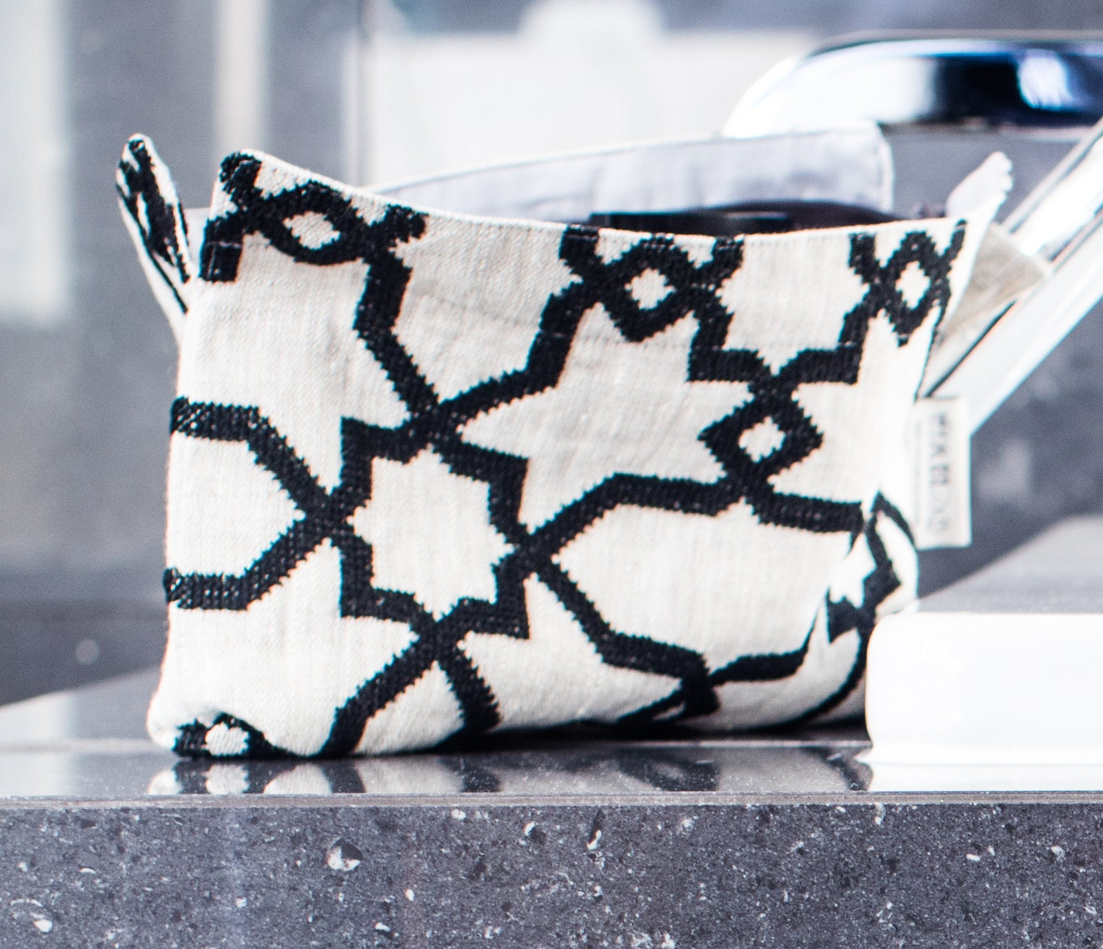 embroidered linen zipper clutch