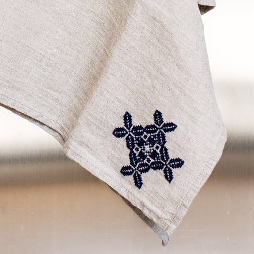 Natural Linen Embroidered Tea Towel