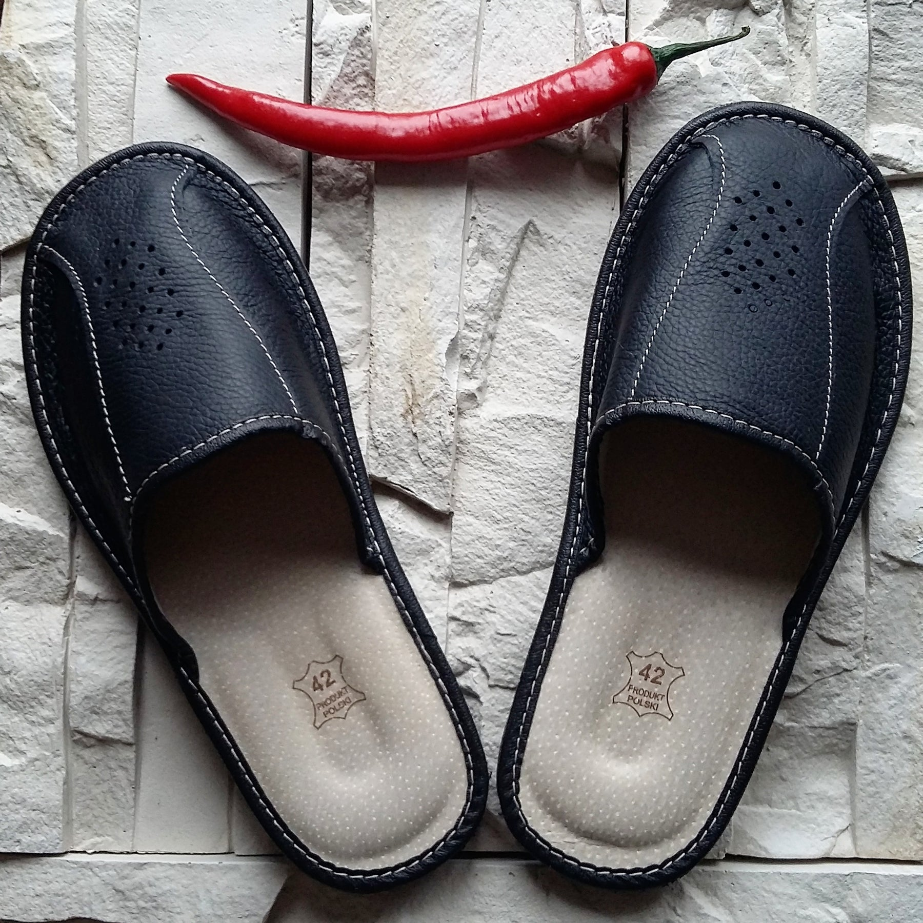 Mens House Leather Slippers