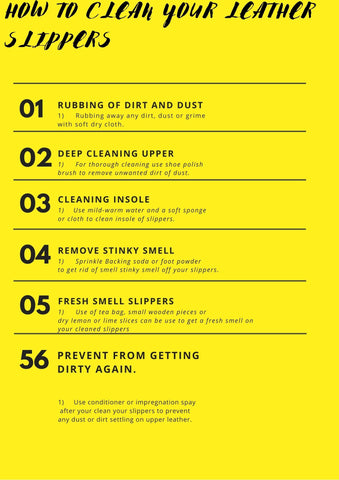 Table of how to clean leather slippers