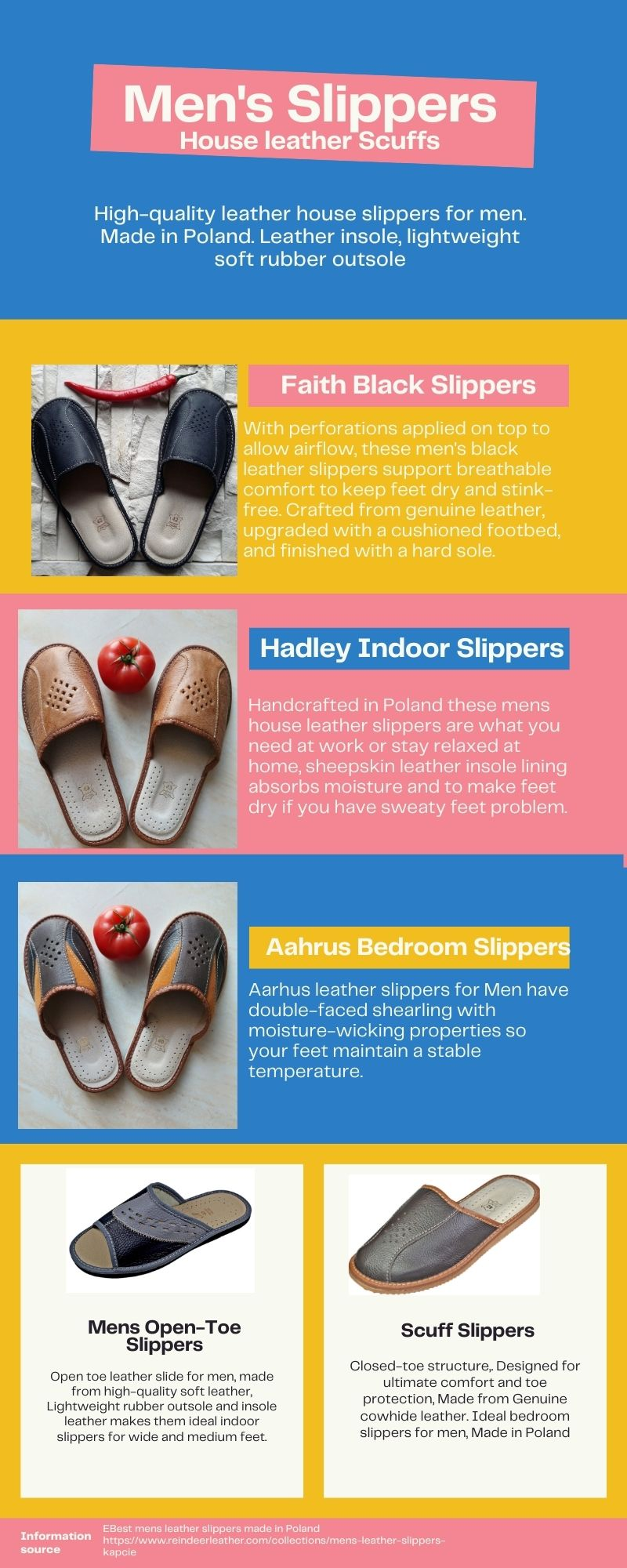 Infographic of Mens Leather Slippers - Reindeer Leather