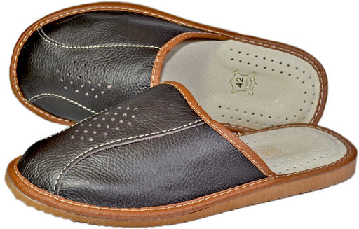 Bronson Cowhide Mens Leather House Slippers - Reindeerleather1