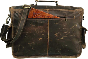 Sepia Crazy Horse Unisex Leather Handmade Messenger Laptop Bag 18""