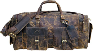 Barak Handmade Crazy Horse Leather Duffel Bag 24""