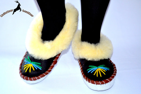 Cozy Moccasin Sheepskin Bootie - Reindeer Leather