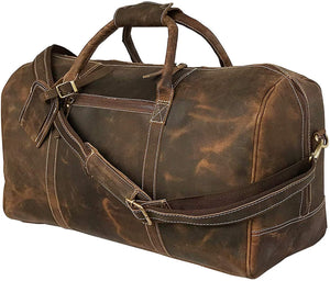 Amory Italian Cowhide Leather Travel Duffle Gym Bag