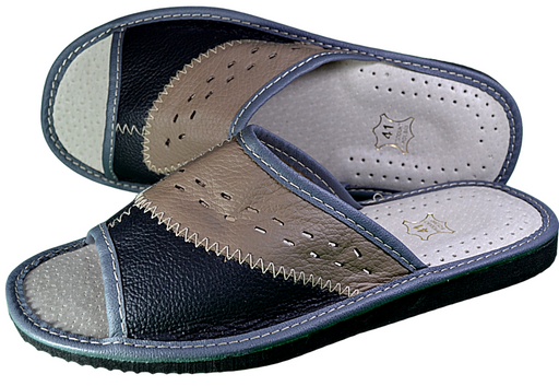 Edward - Mens Grey Leather Slippers - Reindeer Leather
