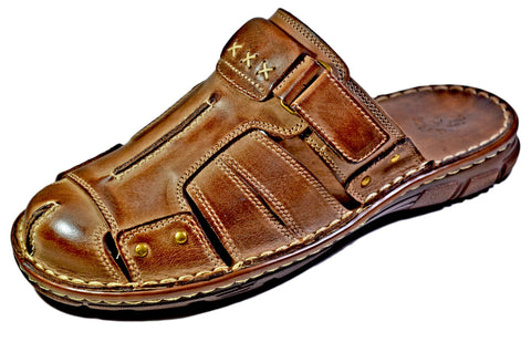 Joker Buffalo Leather Gladiator Out-door Closed Toe Slide - Reindeer Leather