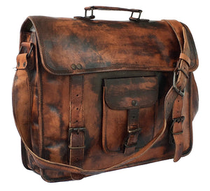 Men And Women Handmade Vintage Goat Leather Satchel Laptop Messenger Bag 15 Inch - Reindeer Leather