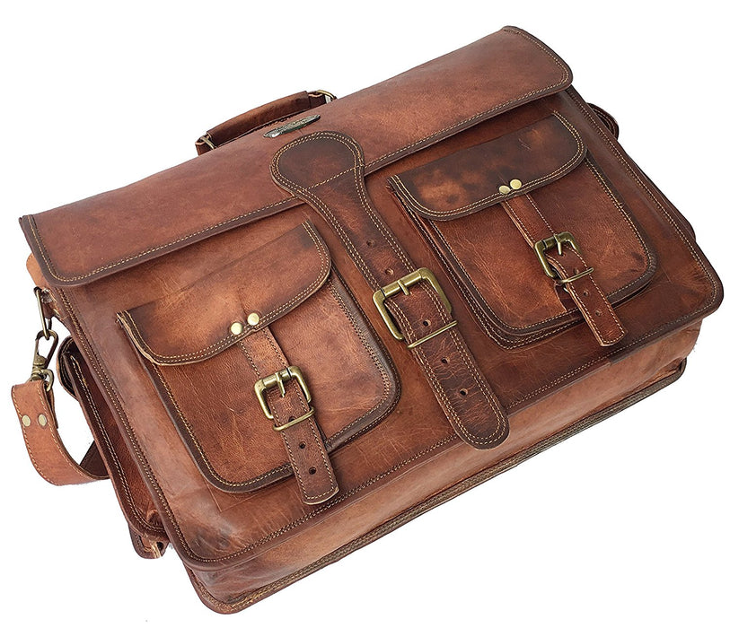 Vintage Handmade Goat Leather Messenger Laptop Satchel Distress Bag 18 Inch - Reindeer Leather