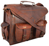 Antique Genuine Goat Leather Handcrafted Laptop Briefcase Messenger Bag - Reindeer Leather