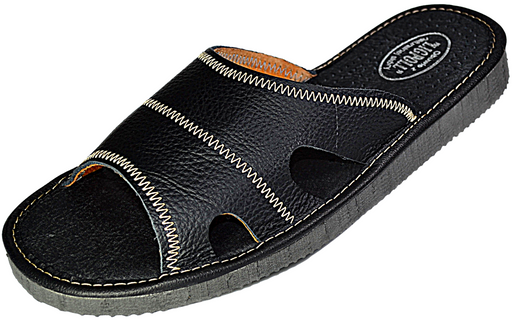 Galen - Mens black summer sandal - Reindeer Leather