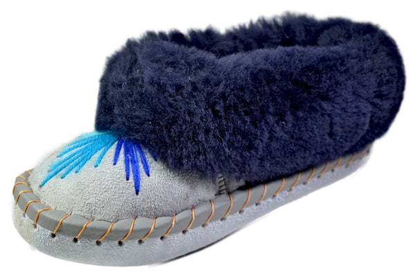 Cally Blue Fur Hand-sewn Leather Moccasin Bootie