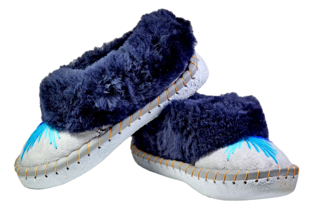 Cally Blue Fur Leather Moccasin women - Reindeerleather6