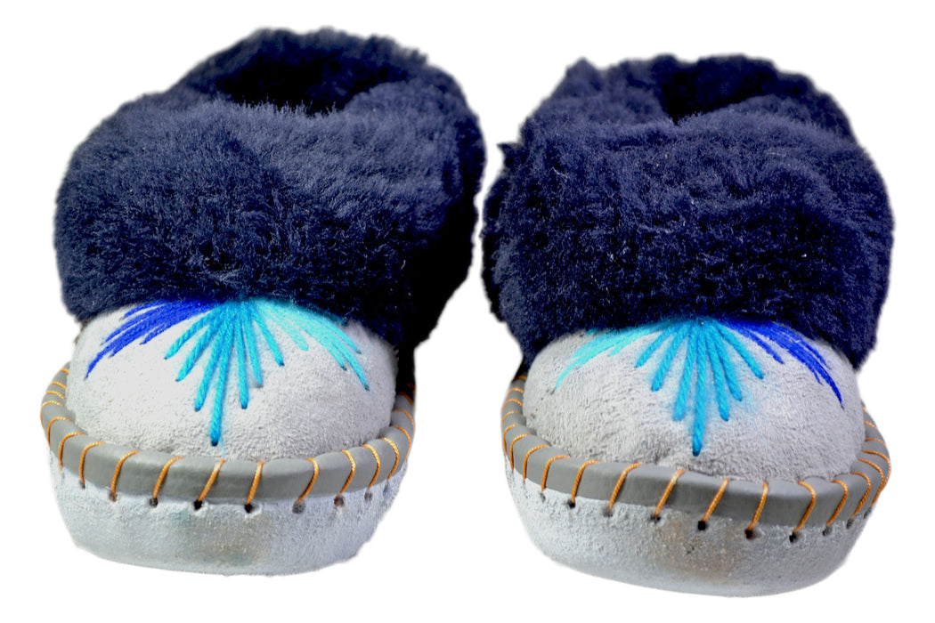 Cally Blue Fur Leather Moccasin women - Reindeerleather7