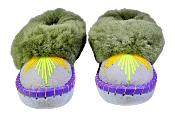 Olivia Green Fur Handmade Leather Moccasin Shoes