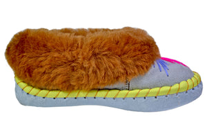 Cora Red Fur Traditional Moccasin Winter Shoes