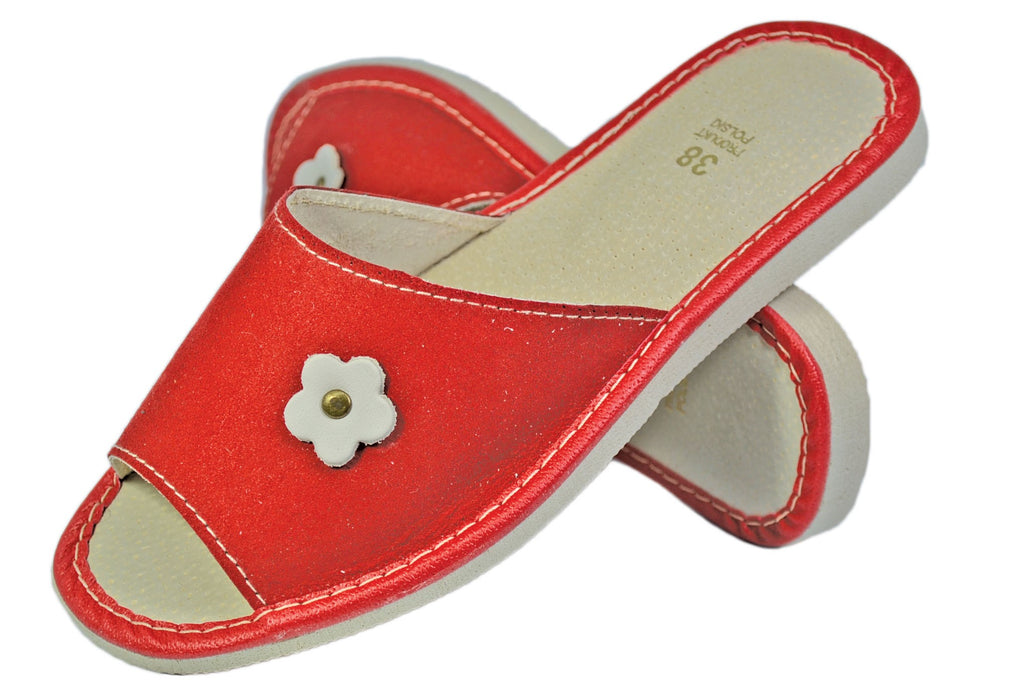 Scarlet Suede house womens red slippers - Reindeer Leather1