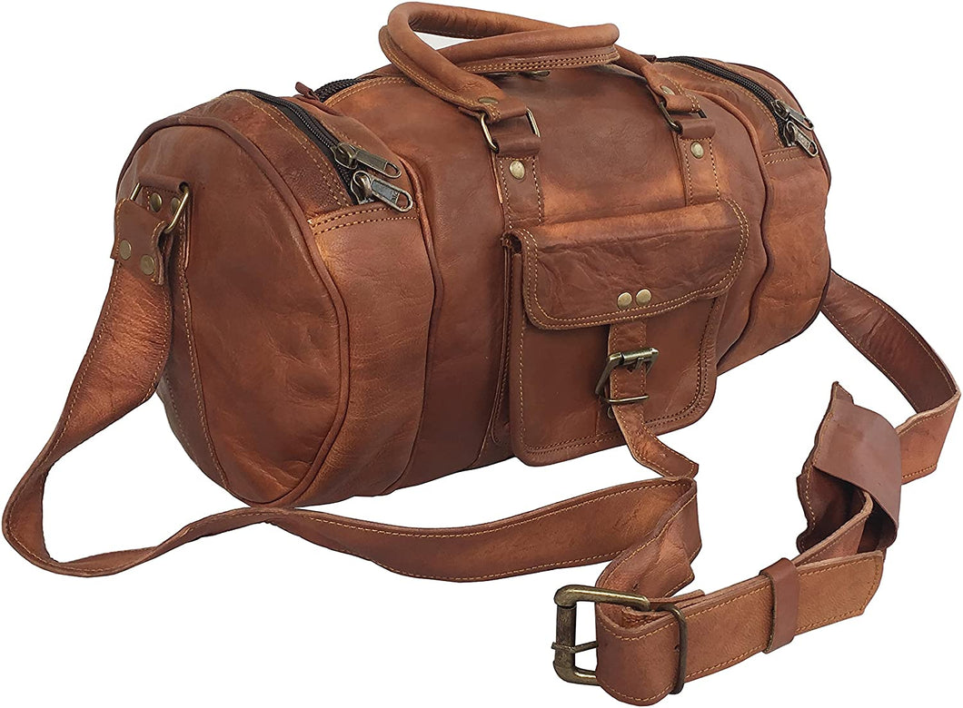 Tawny Goat Leather Short Trip Travel Vacation  Duffle Cum Gym Bag 14