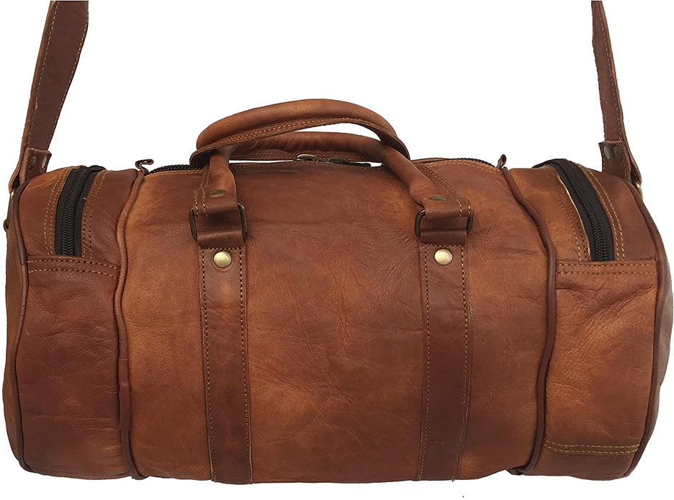 Tawny Leather Travel gym mini duffle Bag - Reindeer Leather3