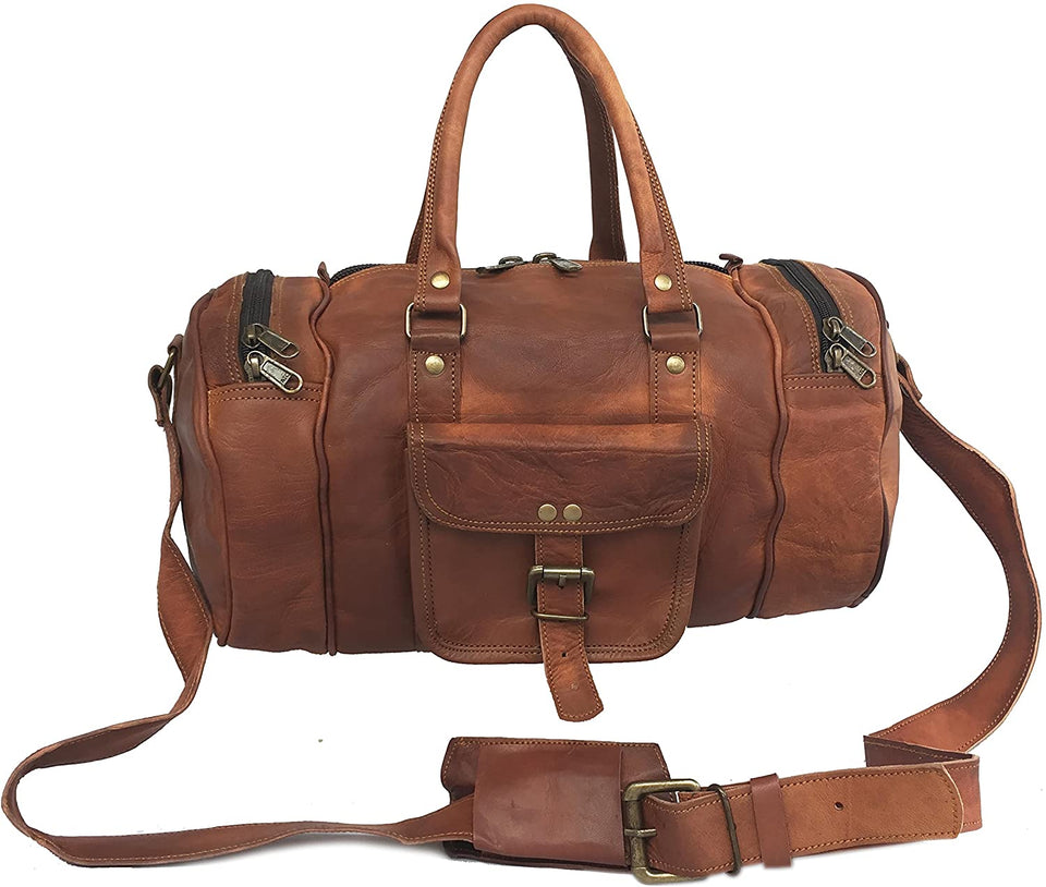 Tawny Goat Leather Short Trip Travel Vacation  Duffle Cum Gym Bag 14""