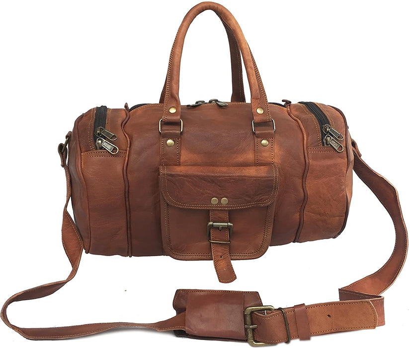 Tawny Leather Travel gym mini duffle Bag - Reindeer Leather4