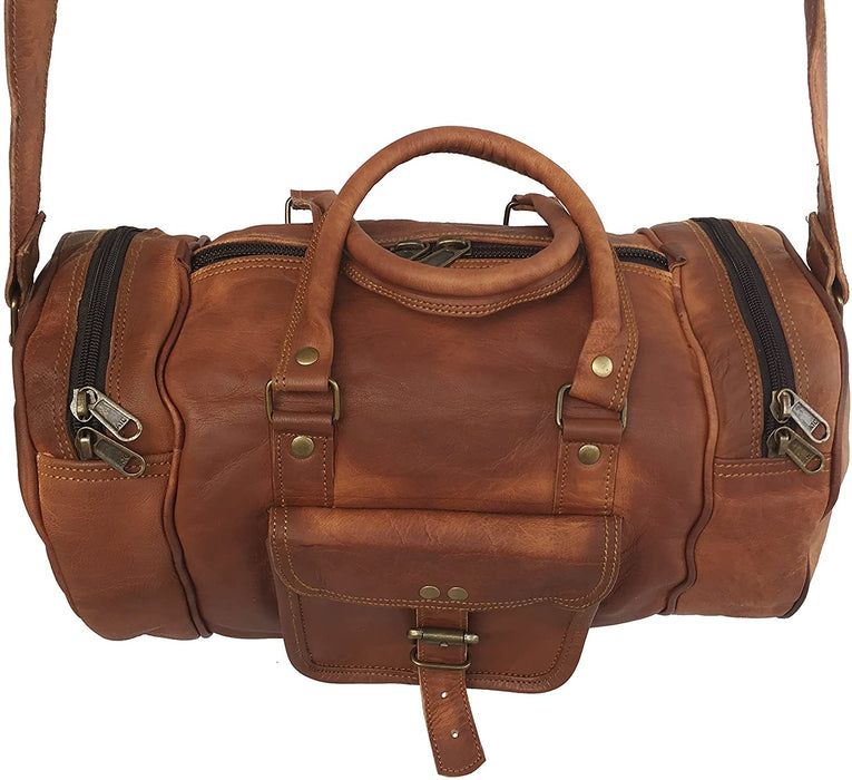 Tawny Leather Travel gym mini duffle Bag - Reindeer Leather5