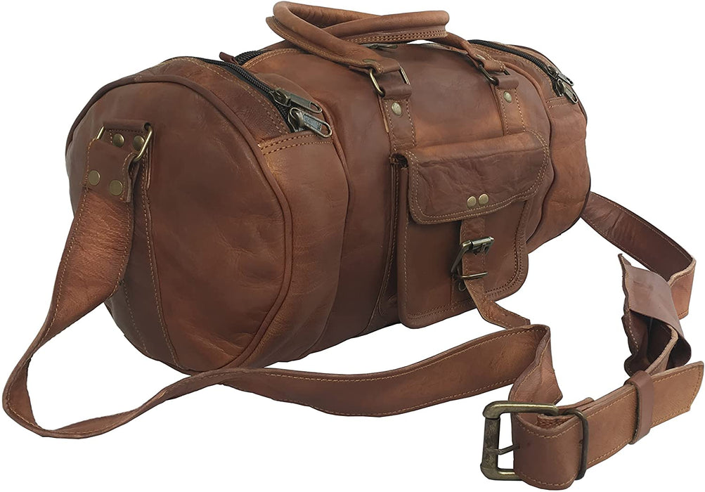 Tawny Leather Travel gym mini duffle Bag - Reindeer Leather6