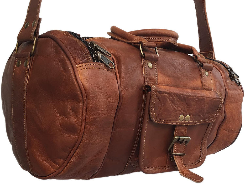 Tawny Leather Travel gym mini duffle Bag - Reindeer Leather7