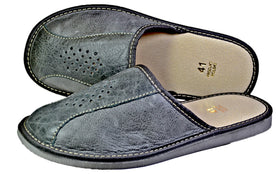 George Handmade Cowhide Grey Mens House Leather Slippers