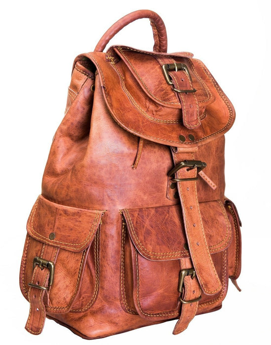 Vintage handmade leather backpack - Reindeer Leather1