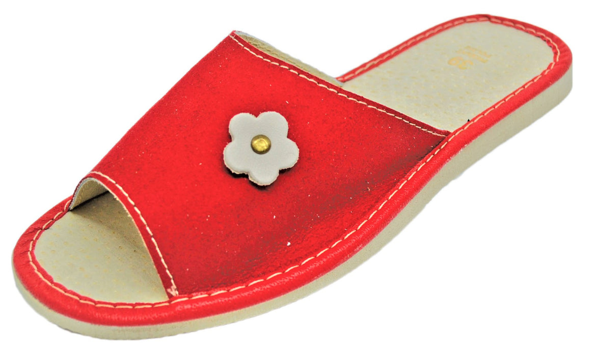 Scarlet Suede house womens red slippers - Reindeer Leather6
