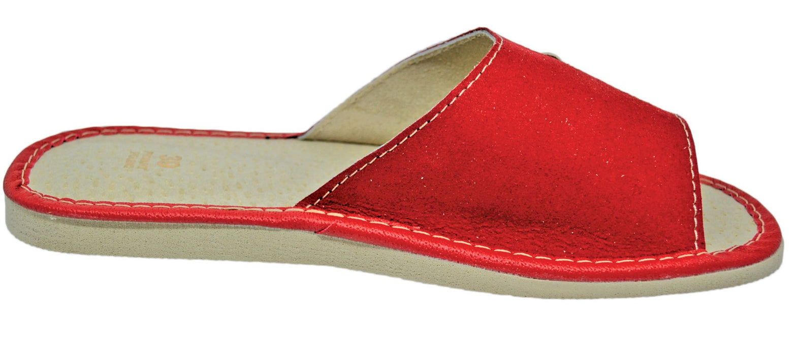 Scarlet Suede house womens red slippers - Reindeer Leather3
