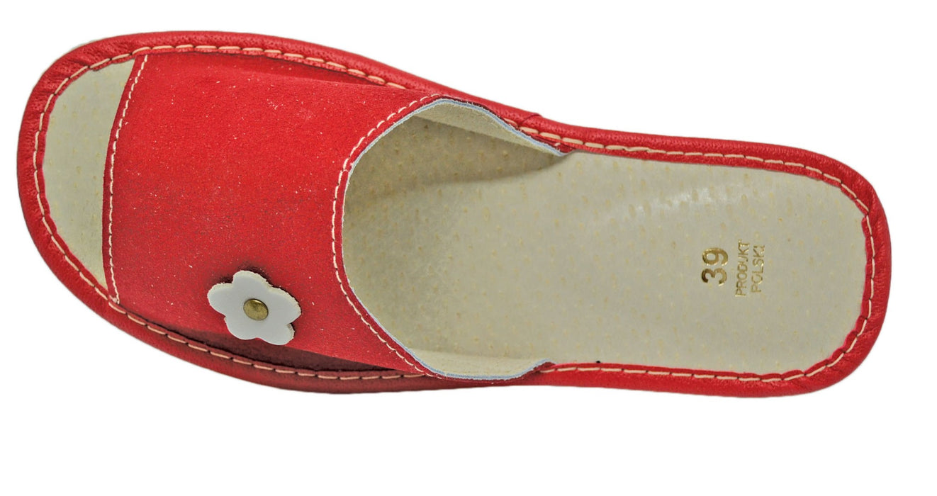 Scarlet Suede house womens red slippers - Reindeer Leather4