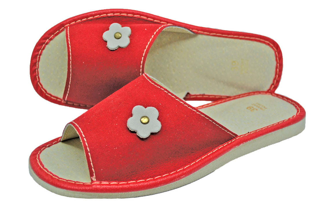Scarlet Suede house womens red slippers - Reindeer Leather7